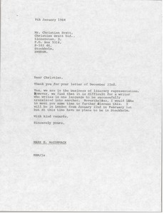 Thumbnail of Letter from Mark H. McCormack to Christian Bratt