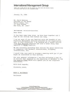 Thumbnail of Letter from Mark H. McCormack to David Mahoney