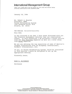 Thumbnail of Letter from Mark H. McCormack to Robert J. Wussler