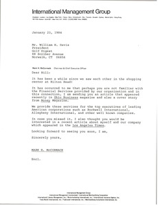 Thumbnail of Letter from Mark H. McCormack to William H. Davis