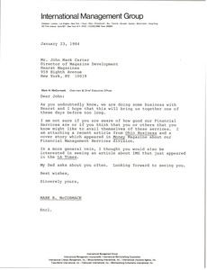 Thumbnail of Letter from Mark H. McCormack to John Mack Carter