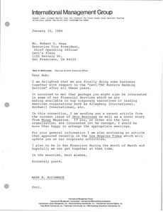Thumbnail of Letter from Mark H. McCormack to Robert D. Haas