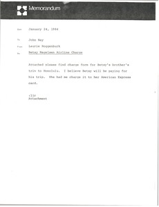Thumbnail of Memorandum from Laurie Roggenburk to John Nay