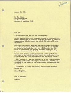 Thumbnail of Letter from Mark H. McCormack to Hal Sutton