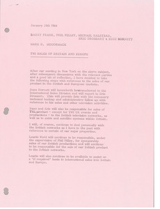 Thumbnail of Memorandum from Mark H. McCormack to Barry Frank, Phil Pilley, Michael Halstead,         Eric Drossart and Buzz Hornett