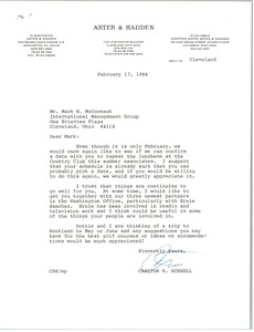 Thumbnail of Letter from Carlton B. Schnell to Mark H. McCormack