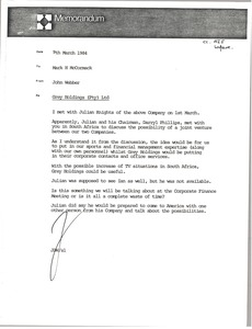 Thumbnail of Memorandum from John Webber to Mark H. McCormack