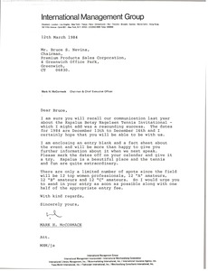 Thumbnail of Letter from Mark H. McCormack to Bruce S. Nevins