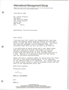 Thumbnail of Letter from Mark H. McCormack to David Gilmore