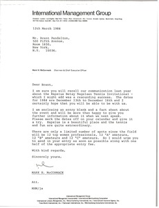 Thumbnail of Letter from Mark H. McCormack to Brent Pendelton
