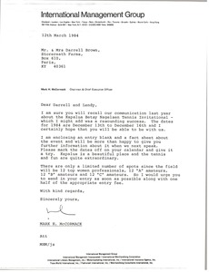 Thumbnail of Letter from Mark H. McCormack to Darrell Brown