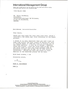 Thumbnail of Letter from Mark H. McCormack to Bjorn Svedberg