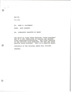 Thumbnail of Telex printout from Buzz Hornett to Mark H. McCormack