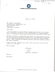 Thumbnail of Letter from Raymond D. Weisbond to Mark H. McCormack