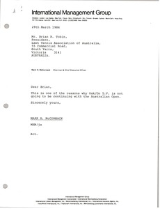 Thumbnail of Letter from Mark H. McCormack to Brian R. Tobin