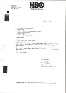 Thumbnail of Letter from Frank J. Biondi to Mark H. McCormack