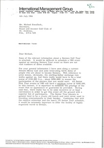 Thumbnail of Letter from Mark H. McCormack to M. F. Bonallack
