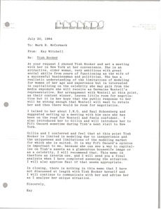 Thumbnail of Letter from Kay Mitchell to Mark H. McCormack