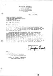 Thumbnail of Letter from C. Douglas Alford to Mark H. McCormack