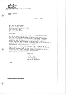 Thumbnail of Letter from Walter S. Ainsworth to Mark H. McCormack