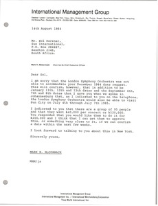 Thumbnail of Letter from Mark H. McCormack to Sol Kerzner