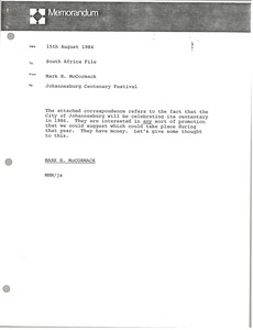 Thumbnail of Memorandum from Mark H. McCormack to South Africa file