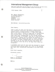 Thumbnail of Letter from Mark H. McCormack to Maeve Changuion
