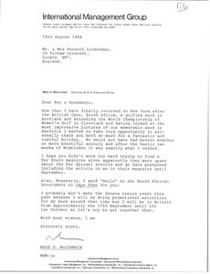 Thumbnail of Letter from Mark H. McCormack to Ken and Rosemarie Lieberman