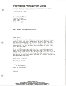 Thumbnail of Letter from Mark H. McCormack to Nina Hoffman