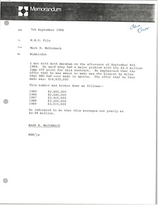 Thumbnail of Memorandum from Mark H. McCormack to Home Box Office file
