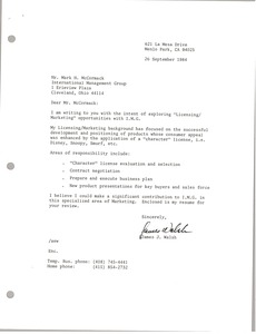 Thumbnail of Letter from James J. Walsh to Mark H. McCormack