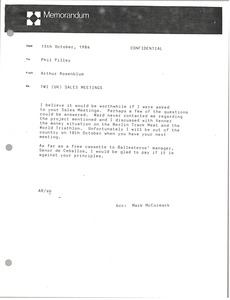 Thumbnail of Memorandum from Arthur Rosenblum to Phil Pilley