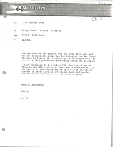 Thumbnail of Memorandum from Mark H. McCormack to Barry Frank and Michael Halstead