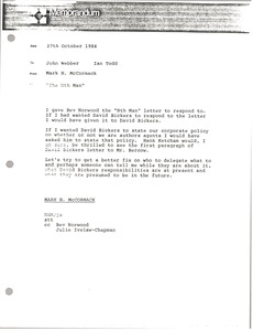 Thumbnail of Memorandum from Mark H. McCormack to Ian Todd and John Webber