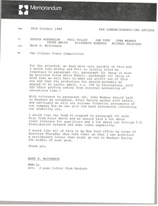 Thumbnail of Memorandum from Mark H. McCormack to Arthur Rosenblum, Phil Pilley, Ian Todd,             John Webber, Peter Smith, Elizabeth Roberts, Michael Halstead