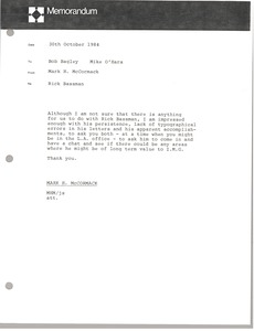 Thumbnail of Memorandum from Mark H. McCormack to Bob Bagley and Mike O'Hara