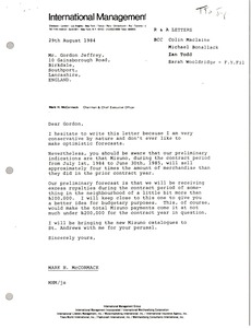 Thumbnail of Letter from Mark H. McCormack to Gordon Jeffrey