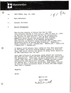 Thumbnail of Memorandum from Hiroshi Kurihara to Mark McCormack