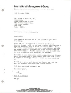 Thumbnail of Letter from Mark H. McCormack to Frank A. Bennack, Jr.