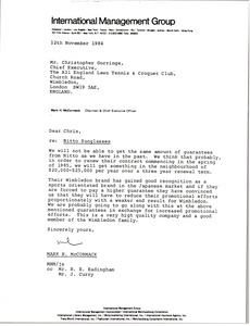 Thumbnail of Letter from Mark H. McCormack to Christopher Gorringe
