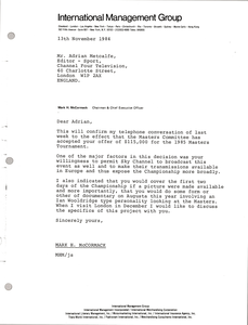 Letter from Mark H. McCormack to Adrian Metcalfe