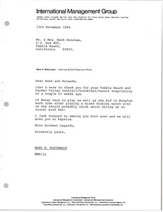 Thumbnail of Letter from Mark H. McCormack to Mr. and Mrs. Hank Ketcham