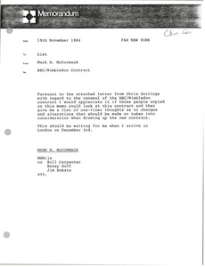 Thumbnail of Memorandum from Mark H. McCormack concerning the BBC / Wimbledon Contract