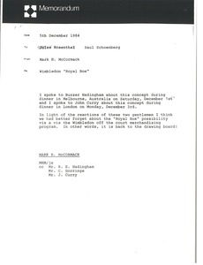 Thumbnail of Memorandum from Mark H. McCormack to Jules Rosenthal and Saul Schoenberg