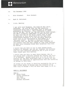 Thumbnail of Memorandum from Mark H. McCormack to Eric Drossart and Buzz Hornett