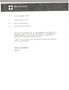 Thumbnail of Memorandum from Mark H. McCormack to Channel Nine file