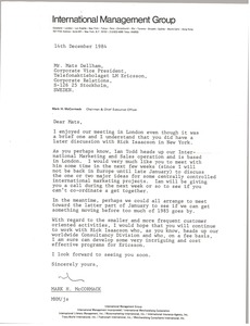 Thumbnail of Letter from Mark H. McCormack to Mats Dellham