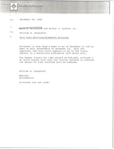 Thumbnail of Memorandum from William H. Carpenter to Mark H. McCormack and Arthur J. Lafave