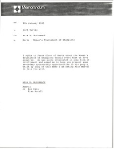 Thumbnail of Memorandum from Mark H. McCormack to Curt Curtis