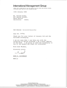 Letter from Mark H. McCormack to Ronald Colby